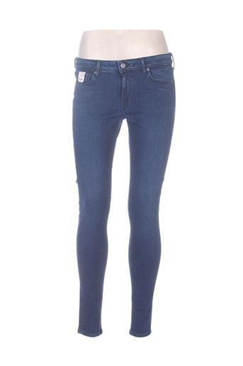 pepe jeans pantalons femme de couleur bleu