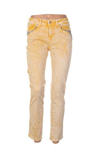 et compagnie pantalons femme de couleur jaune