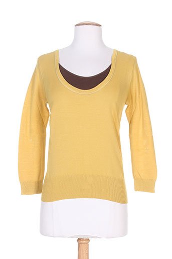 Pull col rond jaune STEFAN GREEN pour femme