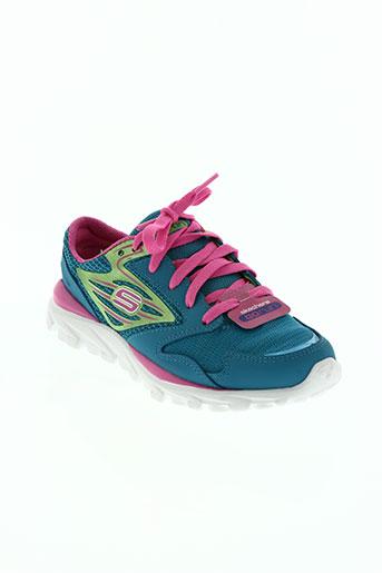 skechers chaussures fille de couleur bleu