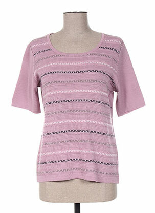 Pull col rond rose FIL & MAILLE pour femme