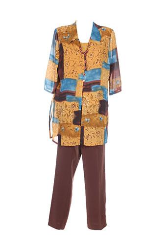 Top/pantalon marron C.S CREATIONS pour femme