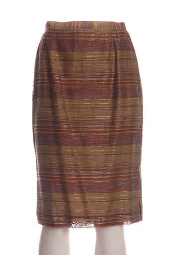 Jupe mi-longue marron ANTONELLE pour femme