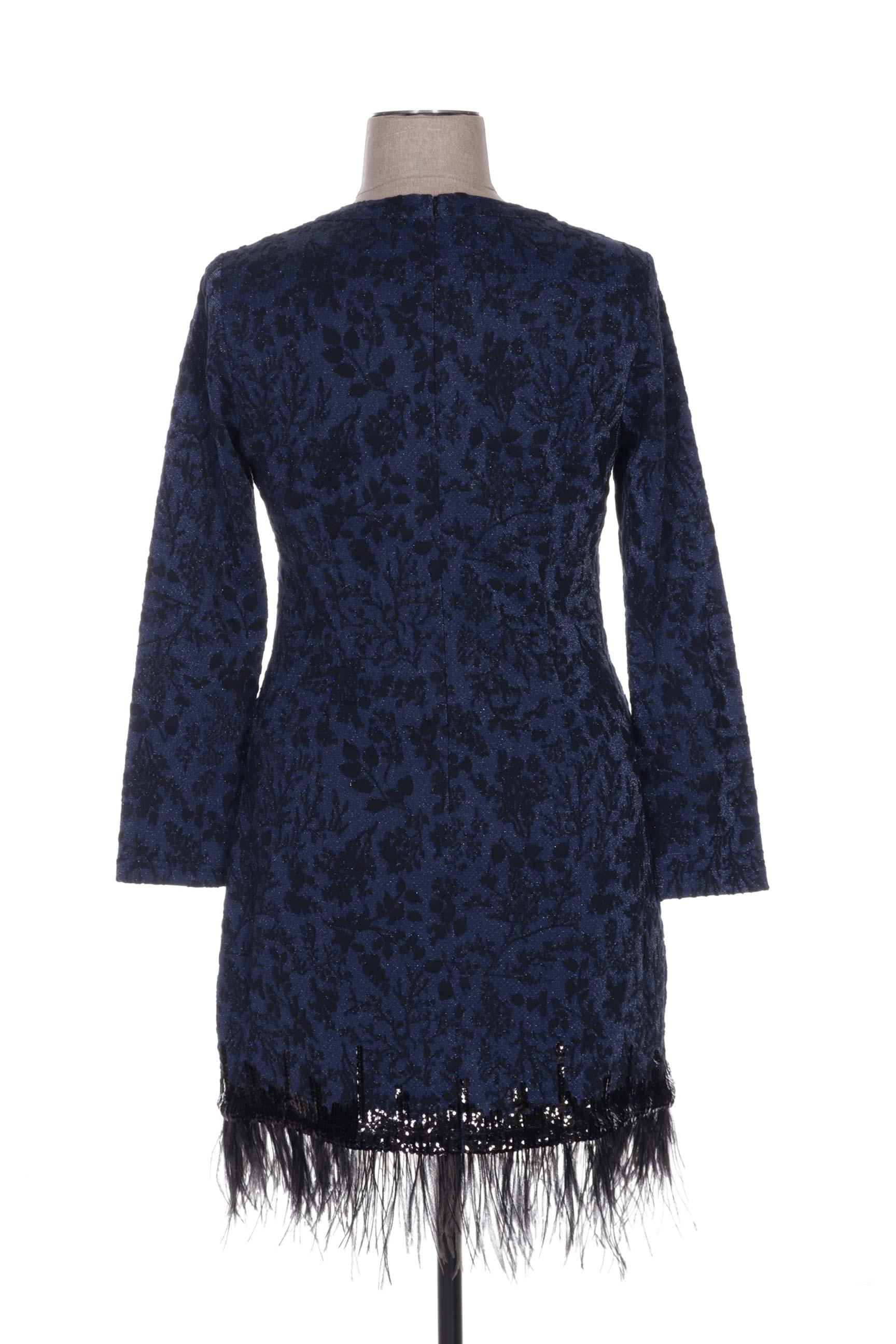 Leslie Robes Mi Longues Femme De Couleur Bleu En Soldes Pas Cher 1176928-bleu00