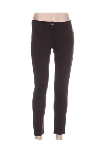 lina pantalons femme de couleur marron