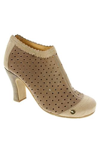 gold button chaussures femme de couleur beige