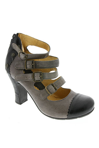 gold button chaussures femme de couleur gris
