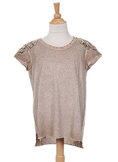 T-shirt manches courtes marron PLEASE pour fille