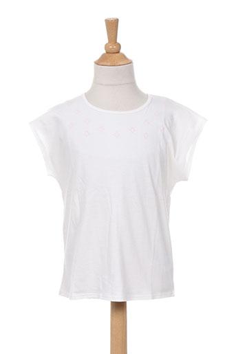 T-shirt manches courtes blanc CARREMENT BEAU pour fille