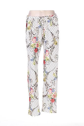 daniela cool pantalons femme de couleur blanc