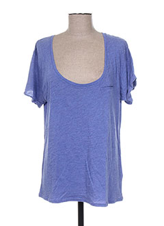 T-shirt manches courtes bleu FINE COLLECTION pour femme