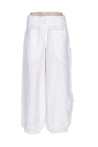 arthurio lino pantalons femme de couleur blanc
