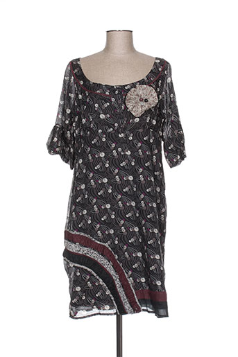Robe mi-longue noir DOUBLE ONE PEACE pour femme