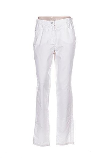 bleu de sym pantalons femme de couleur blanc