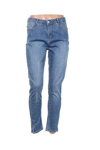 imitz pantalons femme de couleur bleu