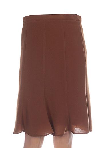 Jupe mi-longue marron ALOUETTE pour femme