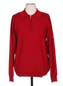 Pull col chemisier rouge MONTE CARLO pour homme