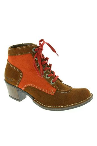 kickers chaussures femme de couleur orange