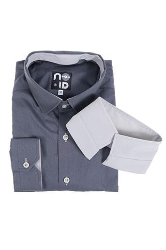 no id chemises homme de couleur gris