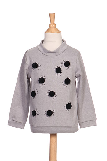 Pull col rond gris MILK ON THE ROCKS pour fille