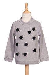 Pull col rond gris MILK ON THE ROCKS pour fille seconde vue