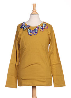 T-shirt manches longues jaune MILK ON THE ROCKS pour fille