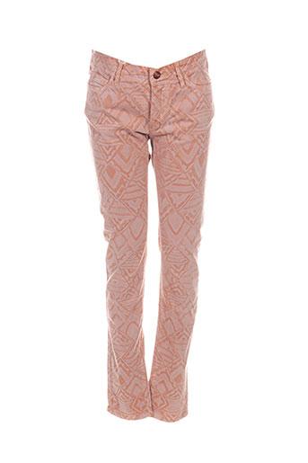 reiko pantalons femme de couleur orange