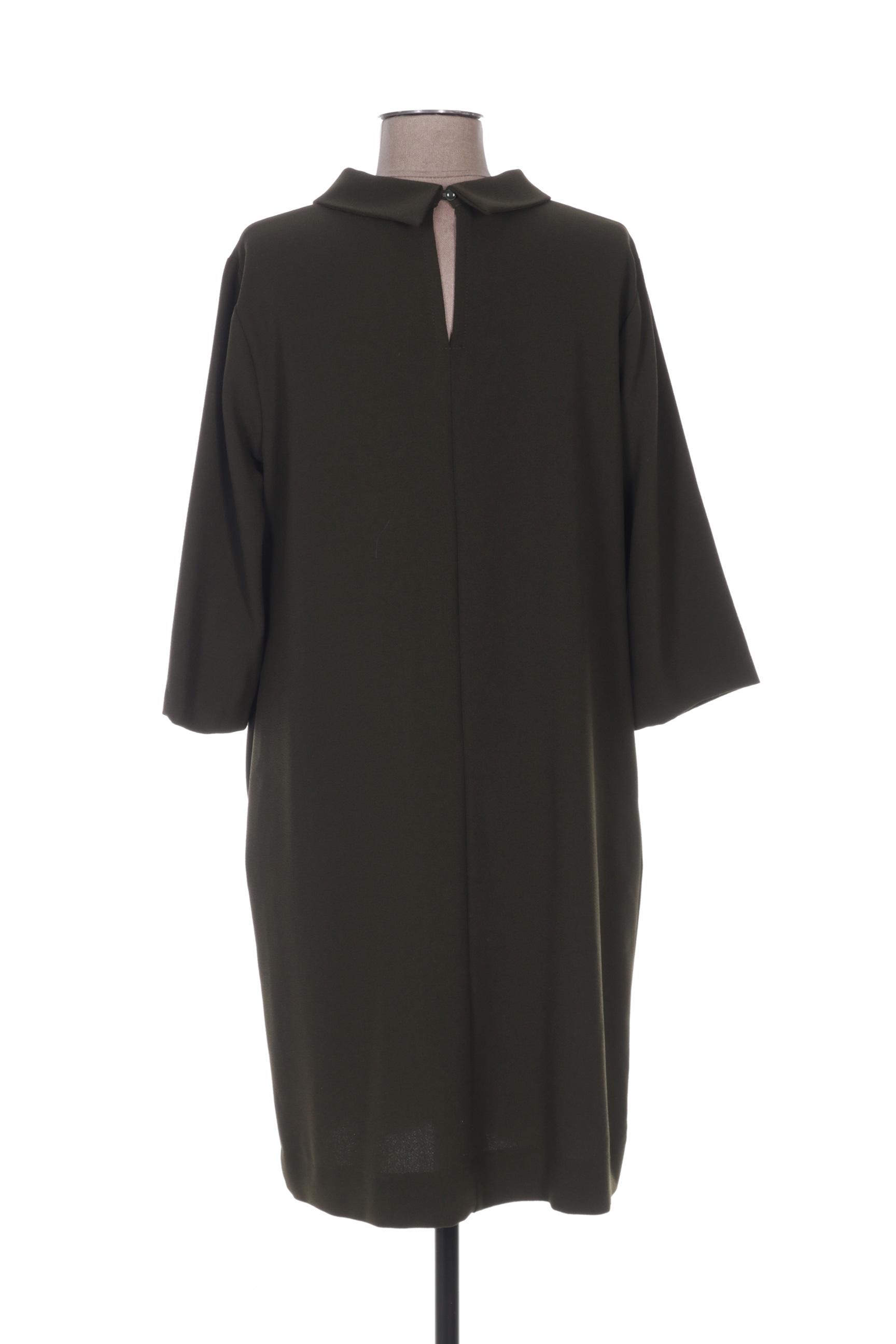Ottod Ame Robes Mi Longues Femme De Couleur Vert En Soldes Pas Cher 1269958-vert00