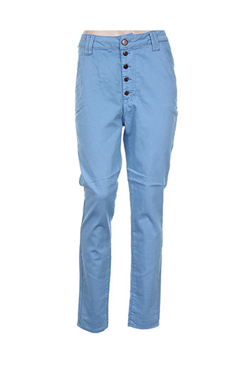 funaki pantalons femme de couleur bleu