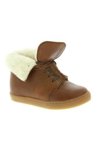 two side chaussures fille de couleur marron
