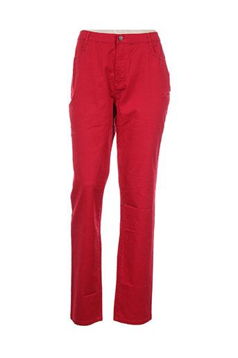 i.quing pantalons femme de couleur rouge