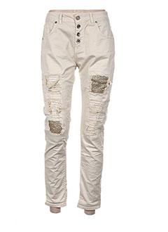 Pantalon casual beige ALMANEGRA pour femme