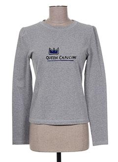 T-shirt manches longues gris CAPUCINE PUERARI pour femme