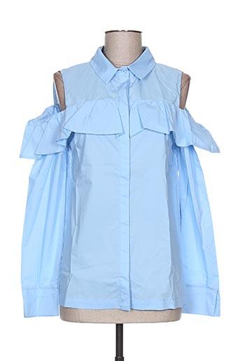 sweewë chemises femme de couleur bleu