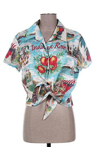 indian rose chemises femme de couleur bleu