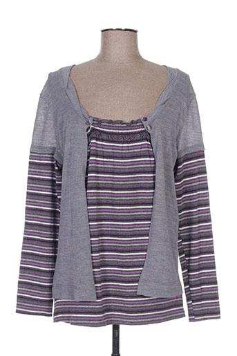 T-shirt manches longues gris COTE ANGLAISE pour femme