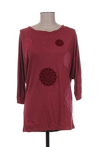 T-shirt manches longues rouge DESIGUAL pour femme