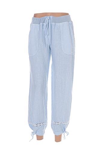 120% lino pantalons femme de couleur bleu