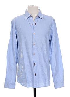 Chemise manches longues bleu MARITHE & FRANCOIS GIRBAUD pour homme
