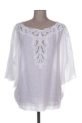 120% lino chemises femme de couleur blanc