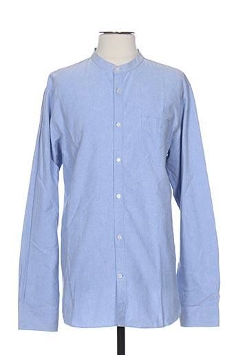 knowledge cotton apparel chemises homme de couleur bleu