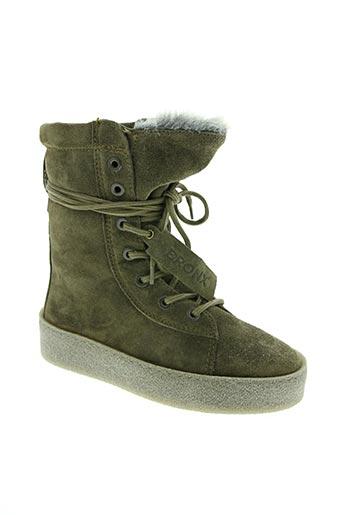 bronx chaussures femme de couleur vert