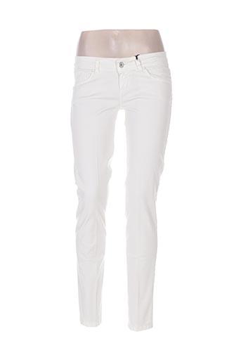 coconuda pantalons femme de couleur blanc