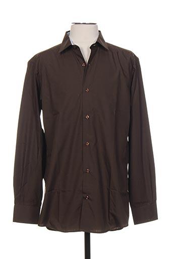 Chemise manches longues marron BELLONI pour homme