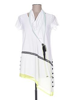 Tunique manches courtes blanc TRICOT CHIC pour femme