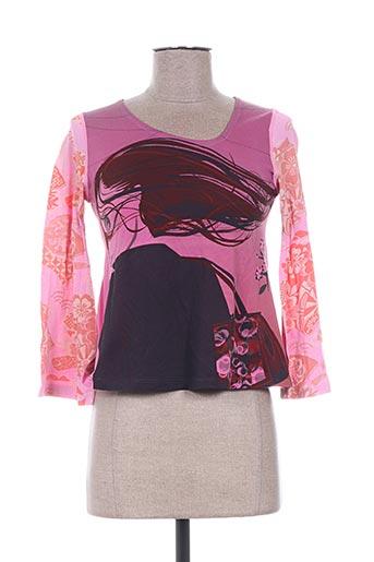 T-shirt manches longues rose CUSTO pour femme