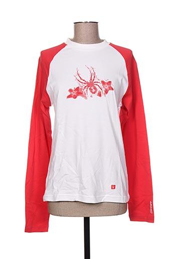 T-shirt manches longues rouge SPYDER pour femme
