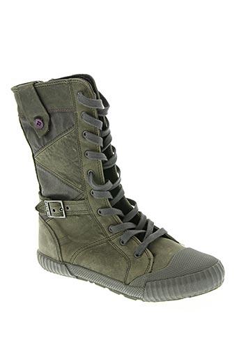 palladium chaussures fille de couleur vert