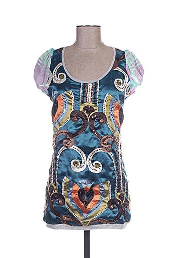 T-shirt manches courtes bleu CUSTO pour femme