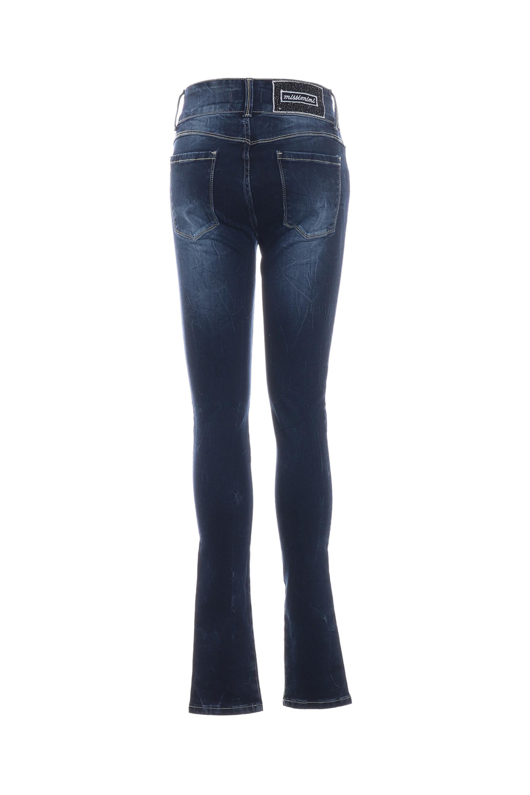 Missimini Jeans Skinny Femme De Couleur Bleu En Soldes Pas Cher 1267684-bleu00